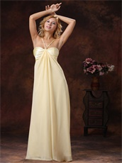 Graceful Light Yellow Cross Straps Chiffon Maxi Dress For Holiday