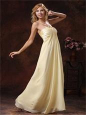 Graceful Light Yellow Cross Straps Chiffon Maxi Dress For Holiday