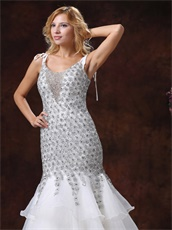 Flickering Diamond Cover With Lace Layers Prom Dress Private Custom