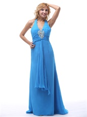 Stylish Sky Blue Halter Brush Train Inexpensive Prom Dress Girl Loved