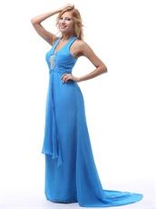 Stylish Sky Blue Halter Brush Train Inexpensive Prom Dress Girl Loved