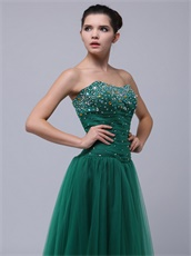 2019 Dark Hunter Green Tulle Long Prom Dress For Lady Wear