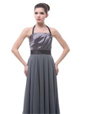 Grey Halter Ruched Women Evening Dress With Black Belt Low Price High Quality