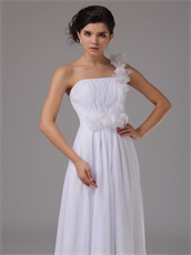 Hand Made Rosa Rugosa Flowers Single Strap Prom Dress Pute