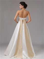 Succinct Floor Length Ivory Casual Bridal Gown With Champagne Ribbon