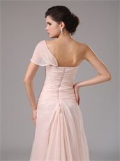 Blush Pearl Pink Chiffon Single Shoulder Dress To Attend Annual Meeting