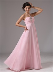 Baby Pink Halter Pregnant Women Prom Dress Rhombus By Crystals