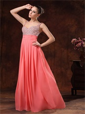 Double Straps Coral Chiffon Silver Beading Classic Style Prom Dress