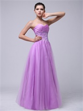 Lilac Beaded Decorate Tulle Skirt For Girl Meeting Wear Hot Sale
