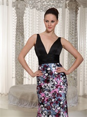Deep V-neck Printed Fabric Skirt Black Column Special Occasion Prom Dress