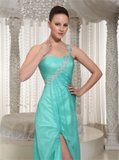 Customize One Shouler High Side Slit Turquoise Chorus Performance Prom Dress