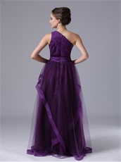 Conservative One Shoulder Tulle Dark Purple Evening Dress Group Purchase