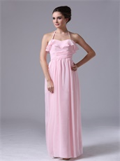Sweet Halter Neckline Falbala Baby Pink Chiffon Girl's First Prom Dress