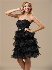 Exquisite Feathers Alternate Multilayers Ruffles Black Skirt Cocktail Prom Dress
