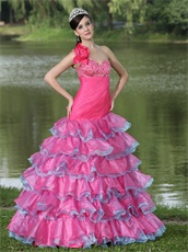 One Shoulder Lovely Style Fuchsia and Blue Alternate Layers Prom Dress