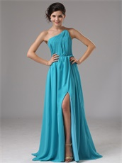 Empire Waist Floor Length Prom Celebrity Dress With Slit
