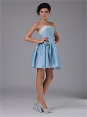 Simple Baby Blue Taffeta Mini-length Homecoming Dress With Ivory Bordure
