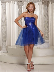 Dark Royal Blue Sequin Short Tulle Prom Dress Special Price