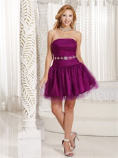 Strapless Magenta Homecoming Dress And Gown For University Girl
