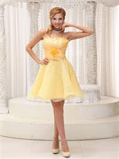 Daffodil Plicated Flower Decorate Organza Dress For Classmate Reunion On Sale
