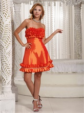Orange Red Taffeta Nightclub Dress Cascade Knee Length Hemline Design