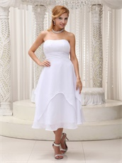Terse White Tea-length 2 Layers Party Dress Full Size Customization