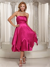 Concise Tea-length Glossy Fabric Fuchsia Bridesmaid Dress For Wedding