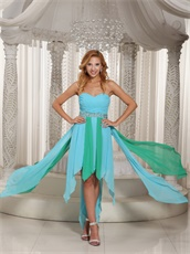 Asymmetrical Turquoise and Aqua Chiffon Hemline Prom Dress For Cocktail