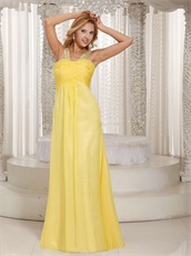 Wide Double Straps Bright Sun Yellow Floor Length Special Gathering Dress