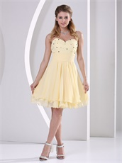 Light Yellow Layers Chiffon Young Girl Homecoming Prom Dress Bustle