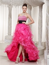 Top Seller Hot Pink High-low Ruffles Gown With Black Ribbon Bustle Wear