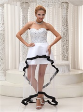 Fully Crystals Transparent High-low Prom Celebrity Dress With Black Hemline