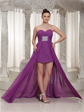 Shirred Bodice Purple Chiffon Prom Dress High-low Design Group Purchase