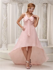 Pearl Pink Chiffon High-low Birthday Party Prom Dress Bowknot Design