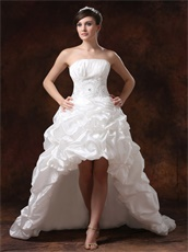 Ivory Taffeta Bubble High-low Little Train Wedding Gown Cool Summer