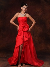 Glamorous Strapless Celebrity Red Dress High Low Skirt Without Details