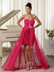 Hot Pink Sequin Skirt Inside Sleeveless Sheath Prom Dress Low Price