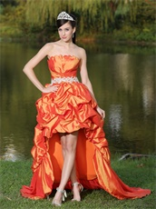 Orange Plicated Bodice Puffy High-Low Private Dress For Outdoor Party Shop
