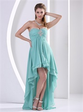 Turquoise Front Short and Long Back Girl Graduation Gowns Store Near Me