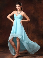 High-low Auqa Blue Chiffon Sweetheart Dress For Dancers Partner Inexpensive