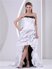 Dignified White and Chocolate High-low Pick-ups Prom Dress Falbala Neckline