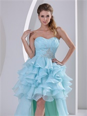 Light Blue High-low Ruffles Prom Gown For September Vacation Wear