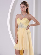 V Shaped Light Yellow High-low Empire Waiste Prom Dress To College Wear