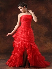 High Low Red Ruffled Layers Large Reception Dress Make You Own