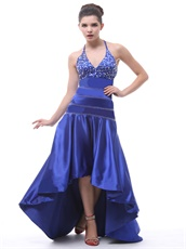 Exclusive Halter Beaded Royal Blue Hi-Lo Prom Dress Little Train