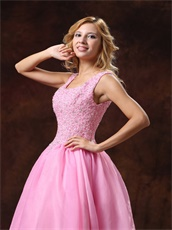 Round Collar Rose Pink Princess Prom Ball Gown Appliques Bodice