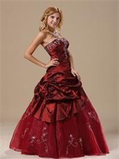 Old Fashion Burgundy Taffeta Prom Ball Gown Drama Essentials