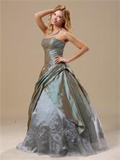 Mature Dark Khaki Taffeta Embroidery Prom Gonws Dress Over 40