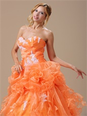 Orange Floor-length Pageant Dress For Girls Quinceanera Party