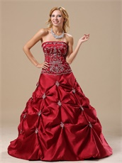 Strapless Embroidery Wine Red Satin Prom Ball Gown Affordable